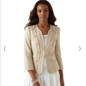NWT WHBM Shimmer Linen Jacket, Tan, Size 4